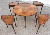 Antique Queen Anne Style Walnut Round Coffee Table with Four Inset Small Tables - SOLD